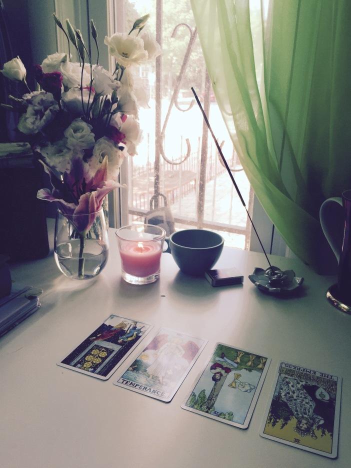4-Card Tarot Spread (Reversed Five of Pentacles, Temperance, Reversed Four of Cups, Reversed Empress)